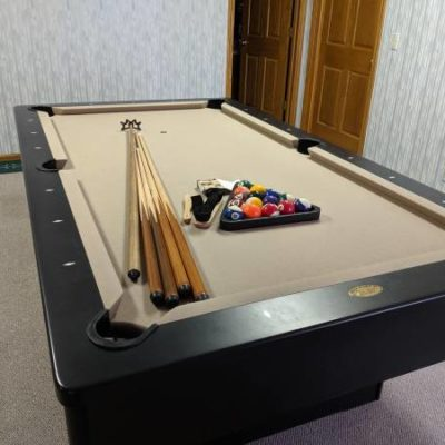 Pool Table with Sticks, Balls, Chalk, Triangle & Tools